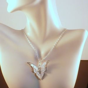 Dainty Necklace Lacey Butterfly Silvertone 2 Layer